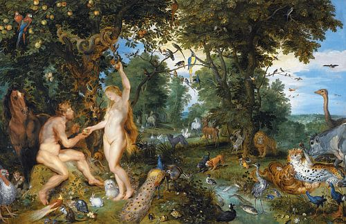 Het aardse paradijs met de zondeval van Adam en Eva von Meesterlijcke Meesters