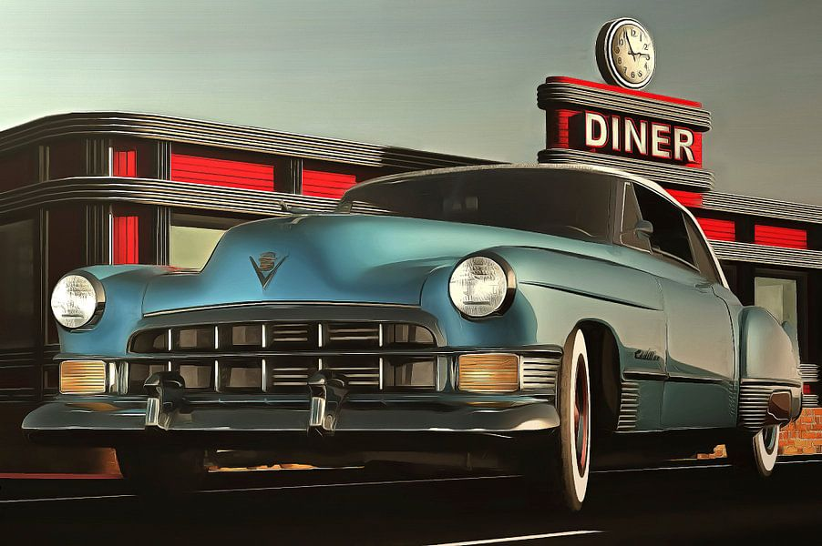 Old-timer cadillac at the diner
