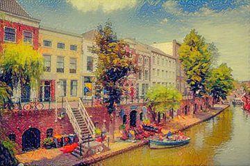 Peinture impressionniste Utrecht Vieux Canal avec les caves Werf sur Slimme Kunst.nl