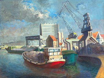 Olieverf op doek; Vermoedelijk de oude haven van Dendermonde - Pieter Ringoot van Galerie Ringoot
