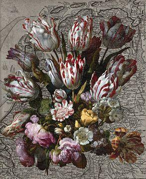 Blumenland Niederlande - Stilleben mit Tulpen auf einer alten Karte der Niederlande von Roger VDB