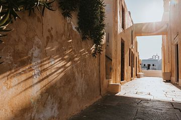 Zonsondergang in Oia Santorini Griekenland van Manon Visser
