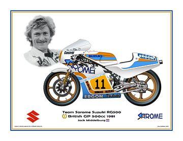 1981 Grand Prix Britannique 500cc Suzuki RG500 #11 Jack Middelburg par Guy Golsteyn sur Adam's World