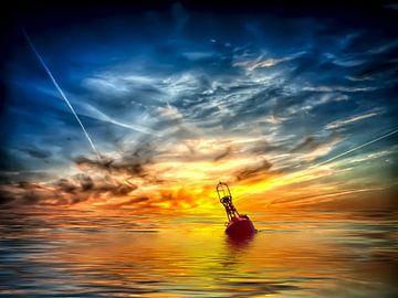 Boje auf dem Meer  van Peter Roder