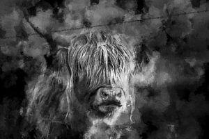 Schottischer Highlander in Schwarz und Weiß von Digitale Schilderijen