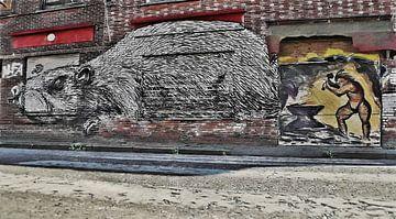 Urbex - Die Ratte und der Smit - Graffiti in den Straßen von Doel, Belgien - Gemalt von Schildersatelier van der Ven