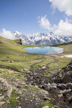 Uitzicht op een bergmeer in Zwitserland van André Hamerpagt