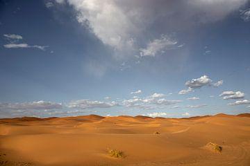 zandduinen in de woestijn van de Sahara in Marokko, Afrika van Tjeerd Kruse