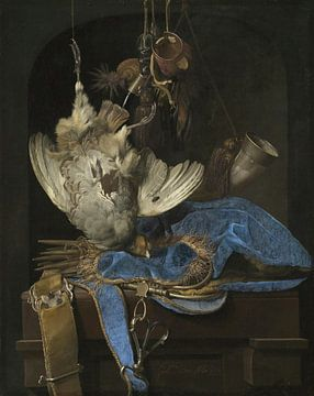 Stilleben mit Jagdausrüstung und toten Vögeln, Willem van Aelst