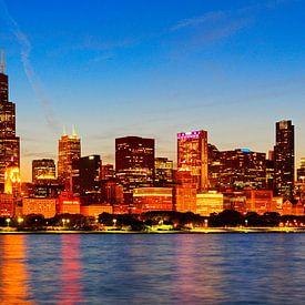 Chicago skyline bij zonsondergang van Atelier Liesjes