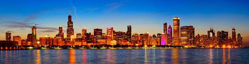 Chicago Skyline bei Sonnenuntergang von Atelier Liesjes