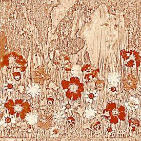 Collage met bloemen in jugendstil stijl van Hanneke Luit