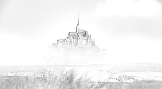 De Mont Saint-Michel Frankrijk Zwart wit