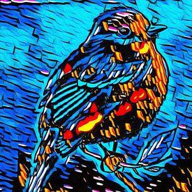 Vogeltje in graffiti van Jose Lok
