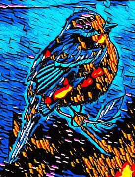 Vogel in Graffiti von Jose Lok