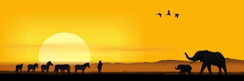 Een ochtend in de Afrikaanse savanne van Monika Jüngling