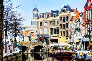 Nieuwe Rijn met op de achtergrond de Hartebrugkerk Leiden Nederland van Hendrik-Jan Kornelis