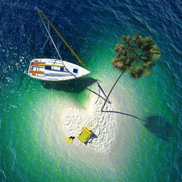 Segelboot in der Nähe einer winzigen tropischen Insel von Henny Hagenaars