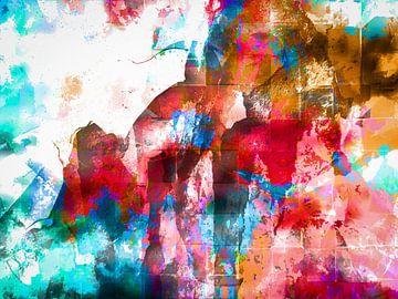 Modern, Abstract Digitaal Kunstwerk in Rood, Blauw, Oranje