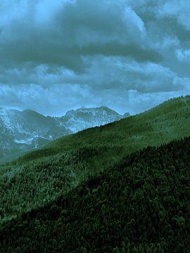 Alpenlandschap in groen en blauw van Christian Mueller
