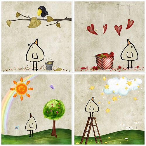 Kippenvogel Collage 4 van Marion Tenbergen