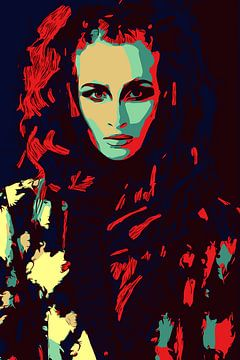 Roodharige dame met bontjas / mode portret in popart stijl van The Art Kroep