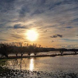 Untergehende Sonne mit Spiegelung im Wasser und bewölktem Himmel über einer dunklen Auenlandschaft a von Maren Winter