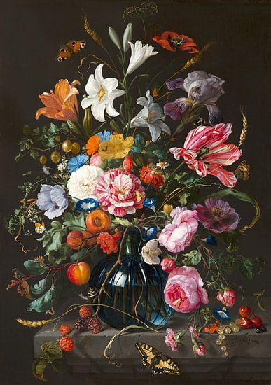 Stilleven met bloemen in een vaas van Diverse Meesters