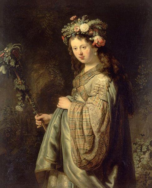 Saskia als Flora, Rembrandt van Rembrandt van Rijn