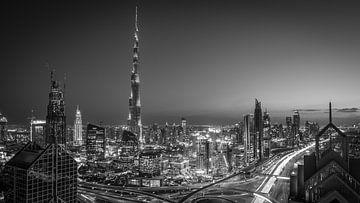 Dubai Skyline schwarzweiss von Dennis Wierenga