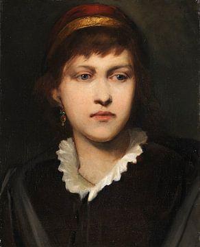 Bildnis eines Mädchens mit Haube und Ohrschmuck, GABRIEL VON MAX, 1875 von Atelier Liesjes