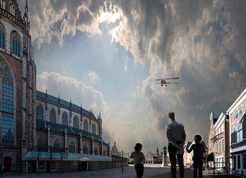 Fokker boven de Grote Markt van Aad Trompert