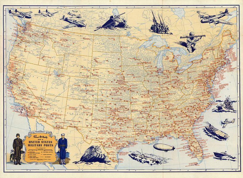 Militaire posten van de Verenigde Staten van World Maps