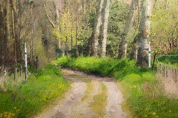 Waldweg auf dem Landgut Matthemburgh in Bergen op Zoom (Kunst) von Art by Jeronimo