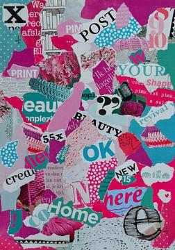 Rosa, lila und türkisfarbene Collage aus Altpapierfetzen von Trinet Uzun
