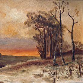schilderij van een landschap van W J Kok