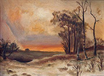 Gemälde einer Landschaft von W J Kok