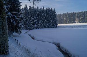 Een besneeuwd veld met stroompje