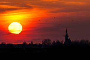 Zonsondergang boven Den Hoorn, Texel van Beschermingswerk voor aan uw muur