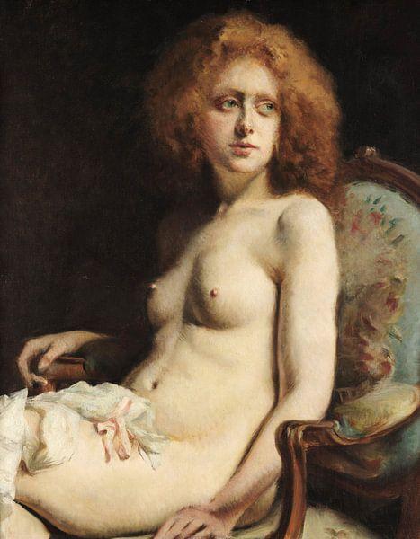 Virgilio Ripari- Sitzender Akt von finemasterpiece