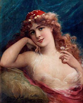 Mädchen mit Gänseblümchen, Émile Vernon von Atelier Liesjes