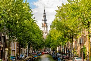 Zuiderkerk Amsterdam tussen bomen van