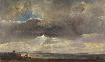 Wolken und Sonnenstrahlen über dem Windberg bei Dresden, Johan Christian Dahl