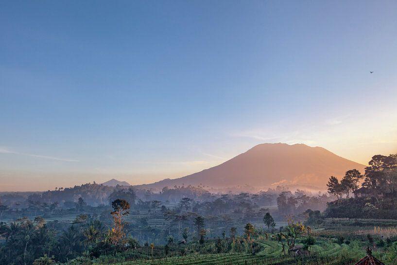 Mooie zonsopgang boven de Jatiluwih-rijstterrassen in Bali, Indonesië van Tjeerd Kruse