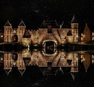 Wasserspiegelung, Koppel-Tor, Amersfoort, Niederlande von Maarten Kost
