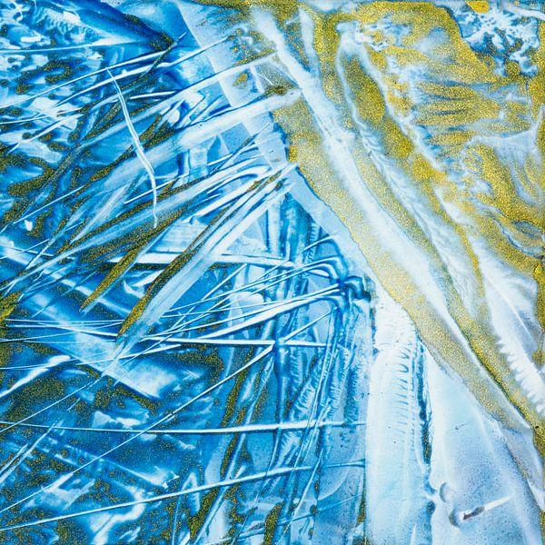 Encaustic Art blauw goud van Erica de Winter