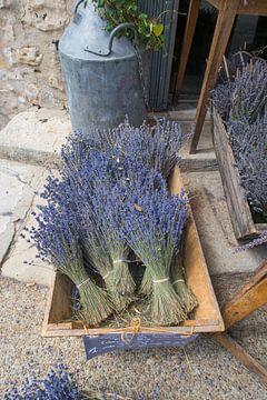 Lavendel te koop / Dried brunches of lavender lying in a basket for sale on a stree von Elles Rijsdijk