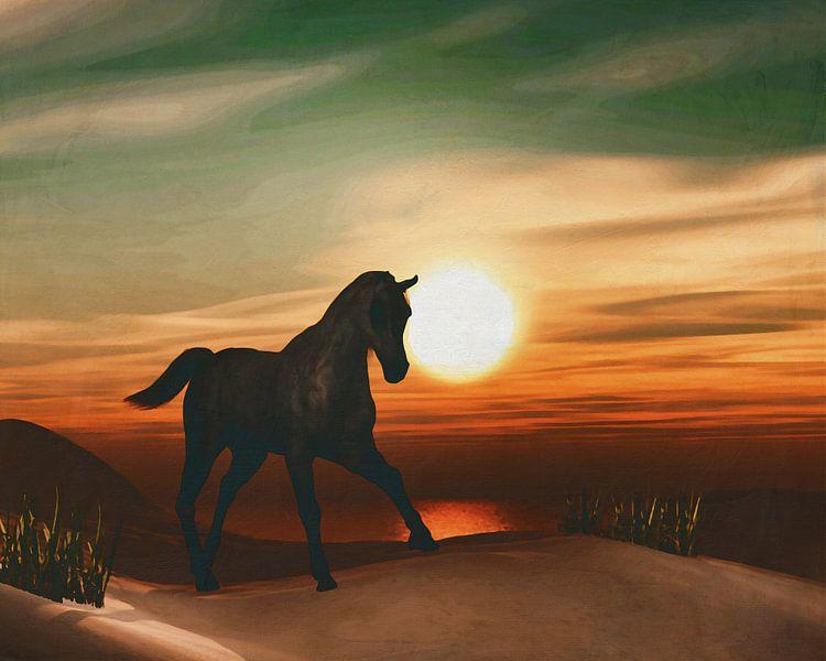 Paard bij zonsondergang van Jan Keteleer
