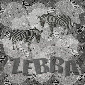 Zebra - monochroom van Christine Nöhmeier