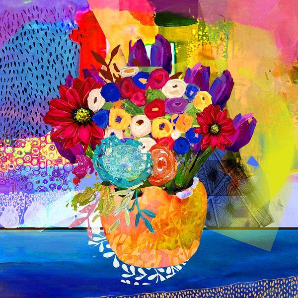 Vaas met vrolijke gekleurde bloemen schilderij vrolijke kleuren van Nicole Habets